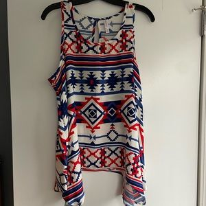 Xhilaration Red White and Blue Aztec Print Top XL